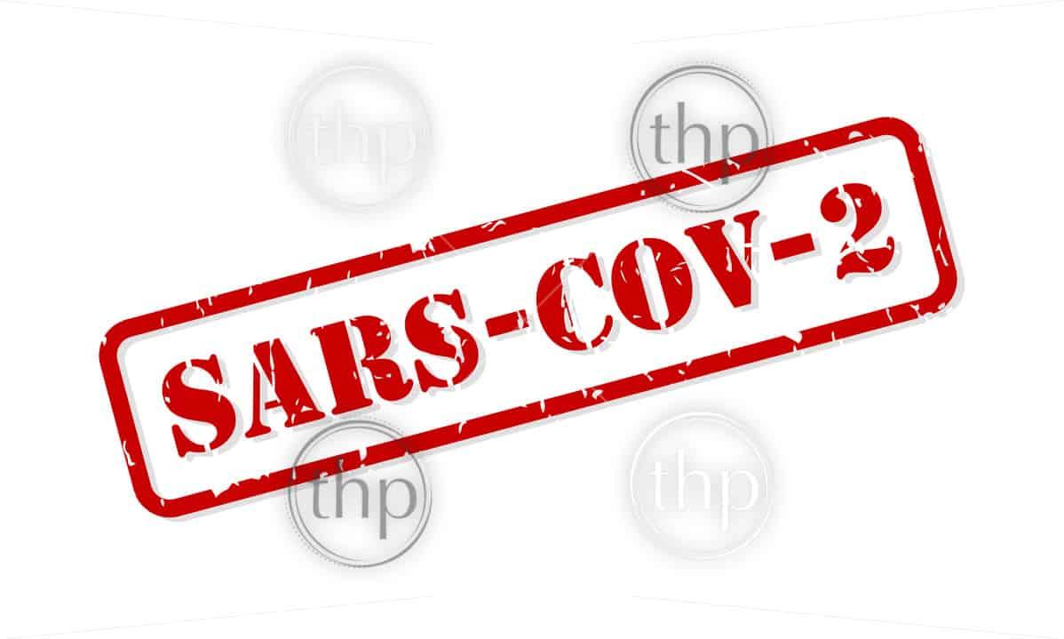 SARS-COV-2 coronavirus red rubber stamp vector isolated