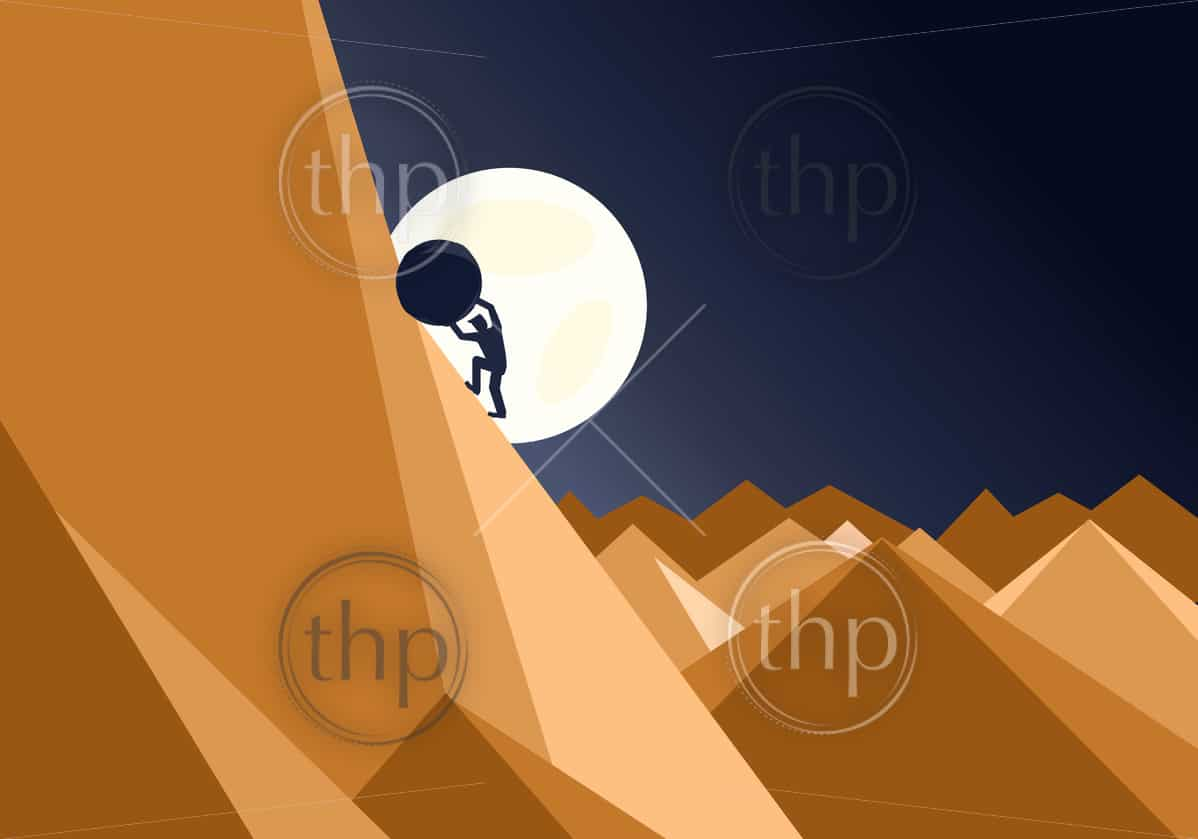 Sisyphus business concept of a man pushing a huge rock up a mountain in an impossible task showing determination and endurance