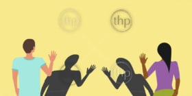 Social distancing greeting concept vector where two people avoid handshakes and keep their distance, but their shadows almost touch