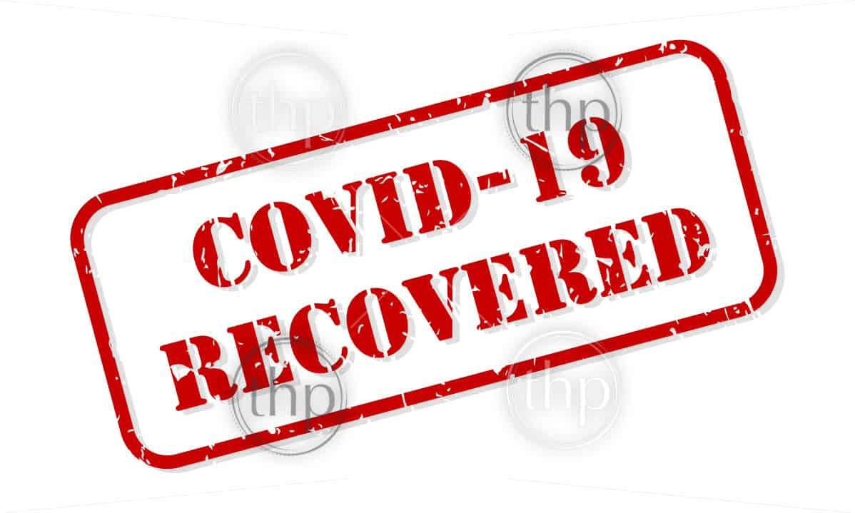 COVID-19 or COVID 19 coronavirus recovered rubber stamp vector