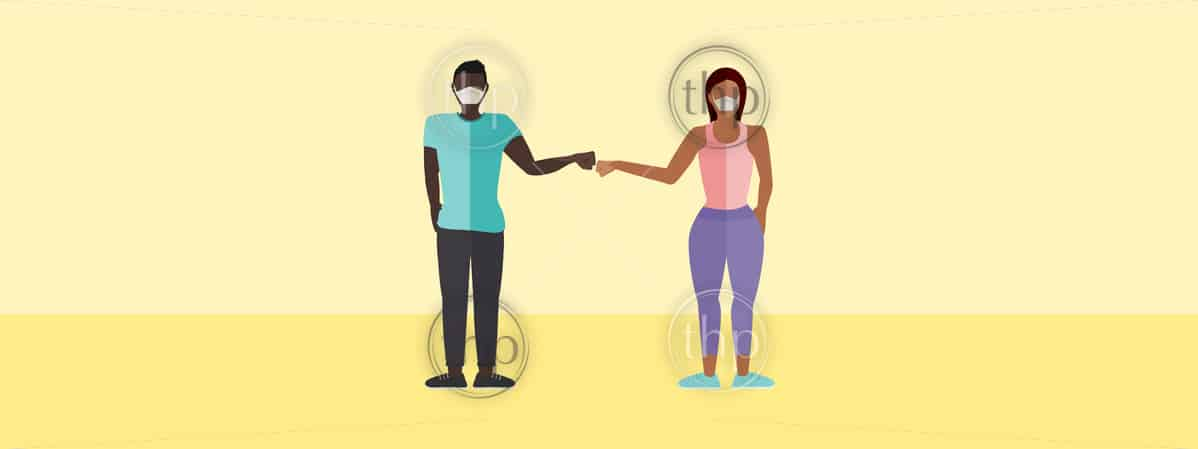 Fist bump greeting concept vector of a man and a woman with masks with copy space for COVID-19 coronavirus prevention