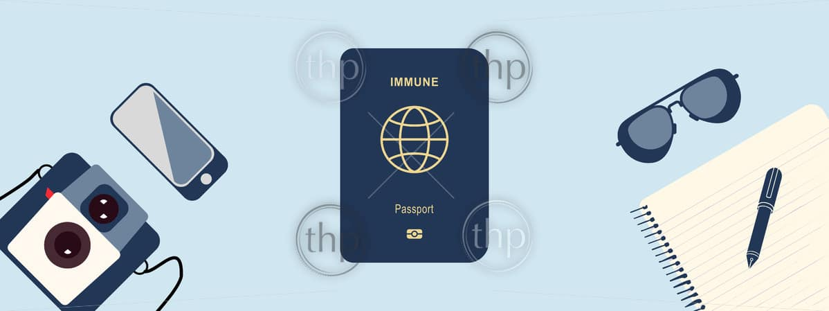 Immunity passport concept vector for people who have recovered from or are immune to COVID-19 coronavirus and can begin to travel and work again