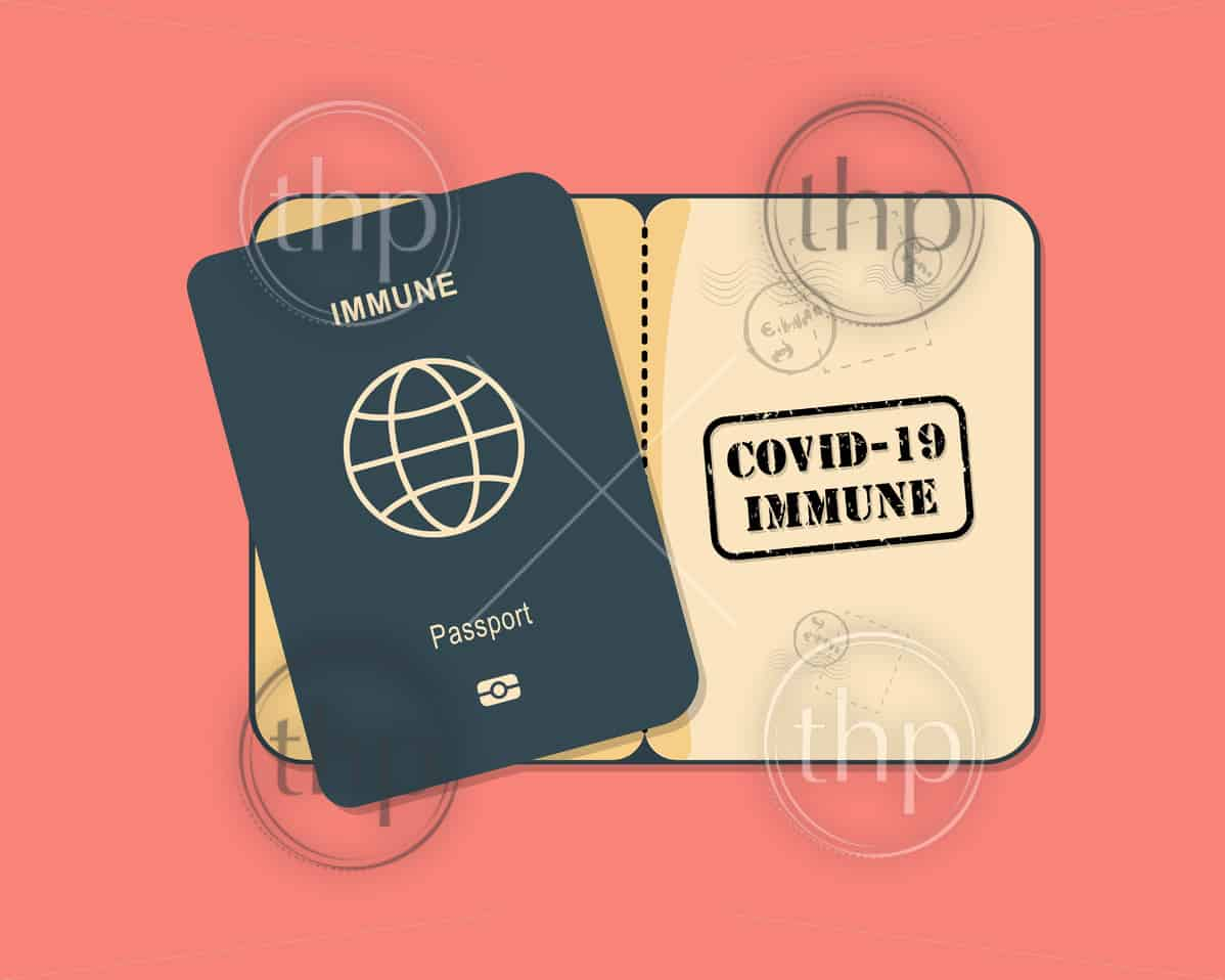 Concept of an immunity passport vector for people who have recovered from or are immune to COVID-19 coronavirus and can begin to travel and work again