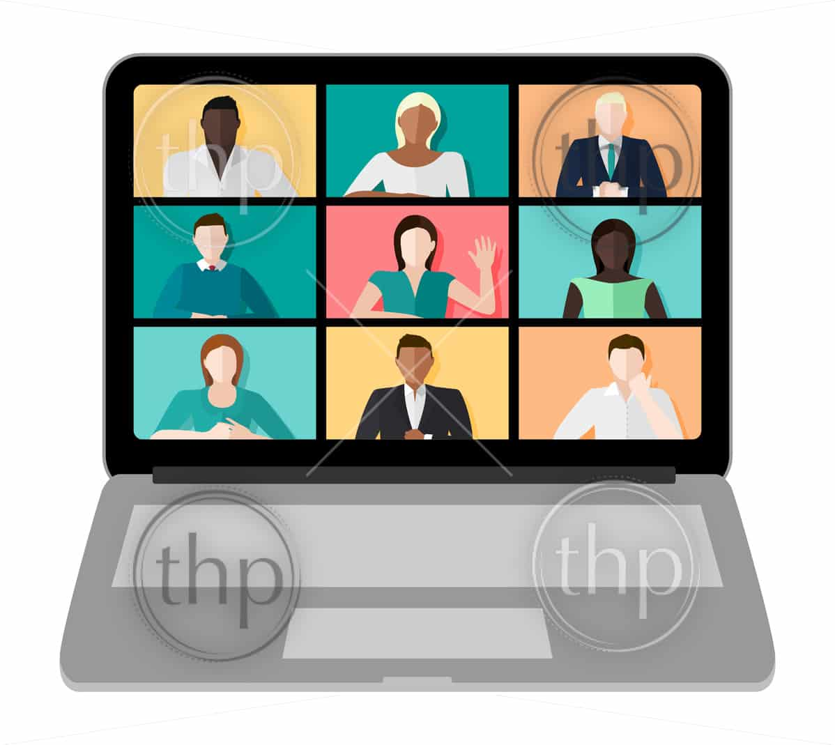 Laptop screen with a video conference call with multicultural people and different genders vector