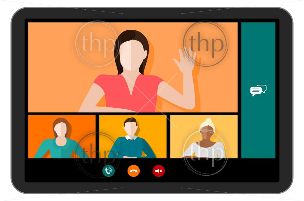 Tablet screen with a video conference call with multicultural people and different genders vector