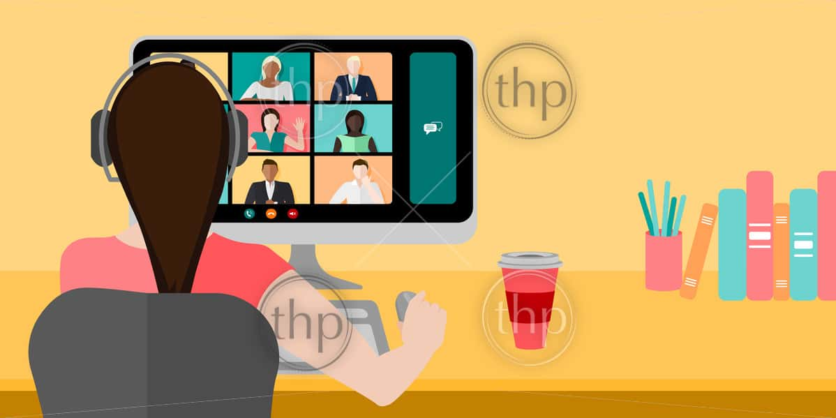 Woman on a video conference call while working at home concept vector