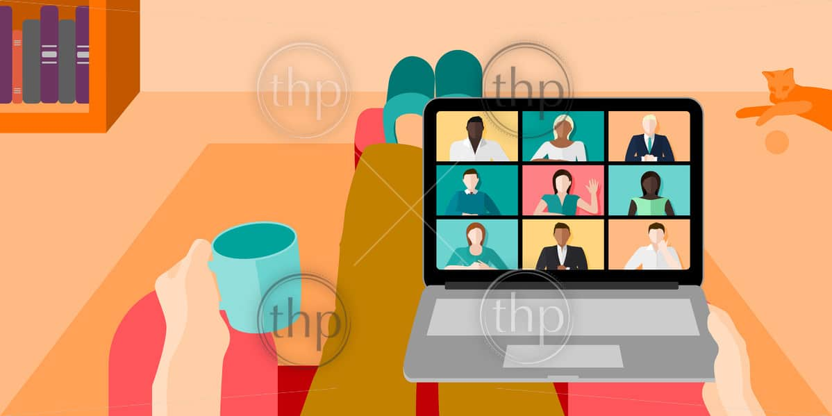 Person working from home while sitting on the couch with a coffee while on a work video conference call concept vector