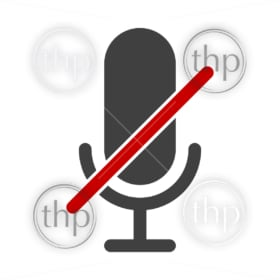 Mute icon for you're on mute concept with line through the microphone in vector